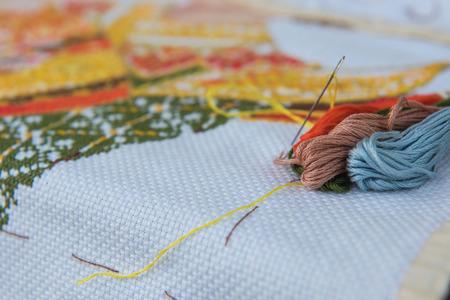 punto de cruz: closeup  colorful thread for cross-stitch embroidery. Foto de archivo
