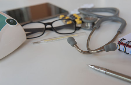 stethoscope and Medical equipment. Doctor workplace in office .