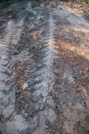 traction: Road with cars tire print in countryside for background .