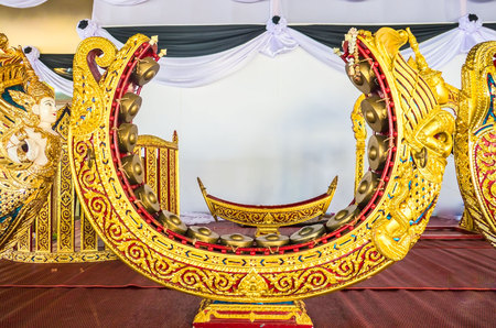 thai musical instrument: Thai musical instrument gold pattern beautiful . used to beat or knock a melody.