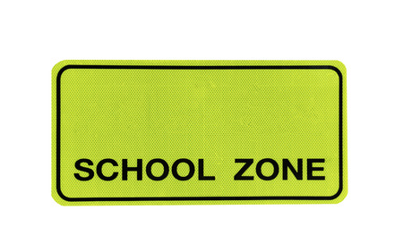 """yellow Traffic Signs"""" school zone """" isolated at on white background of file with Clipping Path ."""