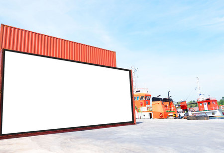 Container shipping for Logistic Import Export business and Industrial . empty white billboard .Blank space for text and images. Reklamní fotografie