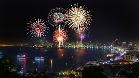 Night view and fireworks at Pattaya city, Thailand photo