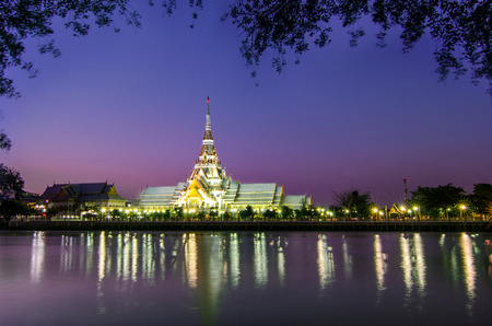 Sothon Temple in the twilight with reflection in water  photo