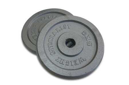 Fitness exercise equipment dumbbell weights on white