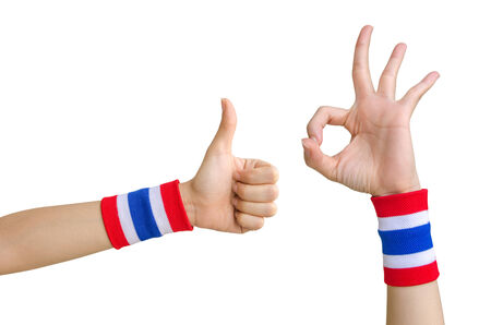 Human Hand with Thailand Flag of Wristband Democracy Symbol for Against Government and Corruption