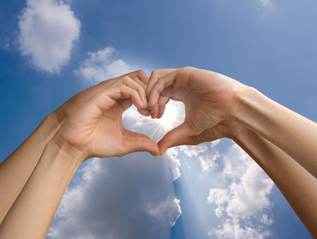four hand make heart sign