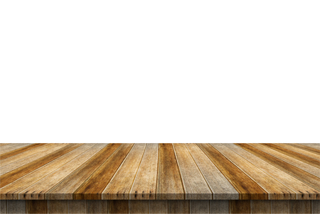 Empty wooden table top. Ready for product display montage.