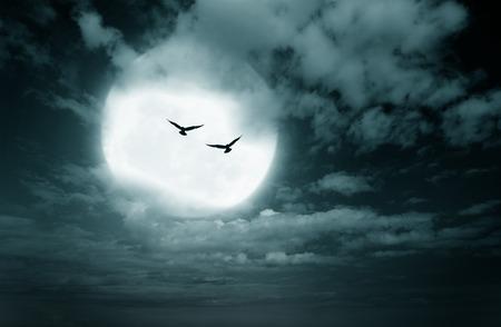 noche y luna: Fondo de Halloween, la luna y el cielo completo, estilo oscuro. Foto de archivo