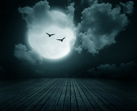 spooky: Halloween background, Wooden floor with branch and blurred full moon, Dark style.