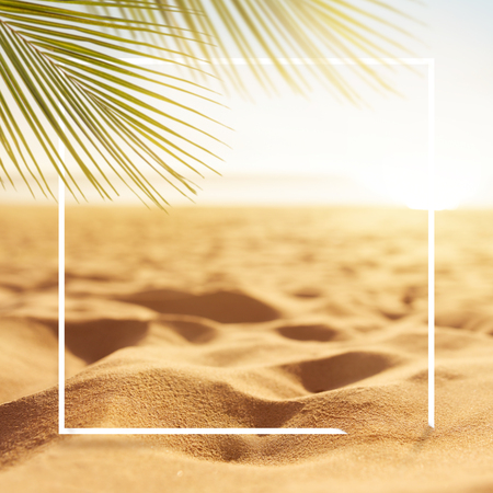 Frame sand with blurred Palm and tropical beach bokeh background, Summer vacation and travel concept. Copy space Stock fotó
