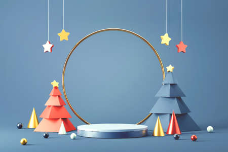 Cylinder podium and minimal abstract background for Christmas, 3d rendering geometric shape, Stage for product. Banque d'images