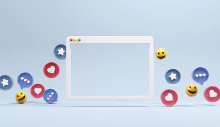 Web simple browser window with social network Icons, abstract trendy design for social media advertising. 3d render.