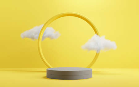 Abstract background minimal scene with geometric forms. Cylinder podium stage with cloud in yellow and grey backgrounds. for show product presentation 2021, mock up, 3d render.