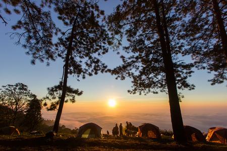 morning mist on doi angkhang mountain, Chiang Mai, Thailand.