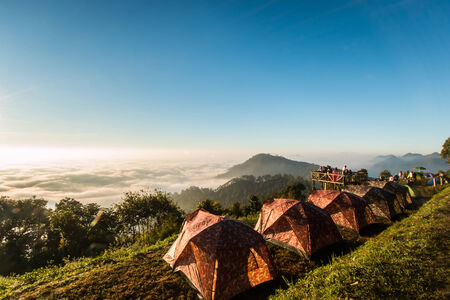 morning mist on doi angkhang mountain, Chiang Mai, Thailand. photo