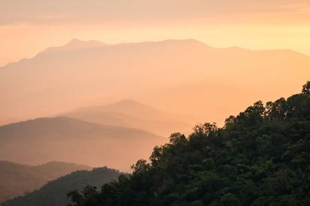 mountain peek: beautiful landscape with sunrise Stock Photo