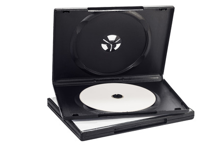 dvd case: The open black DVD case with disk inside isolated