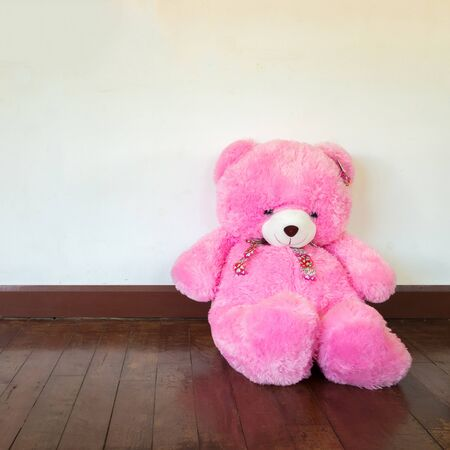 fur hood: Pink teddy bear sitting against a white wooden wall.