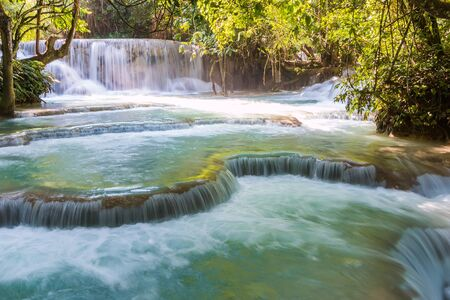 si: Kuang Si waterfalls at Luangprabang Laos