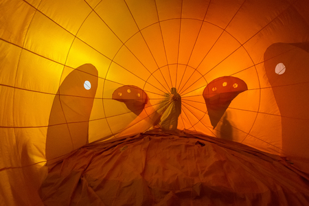 colored hot air balloon view from inside Stock Photo