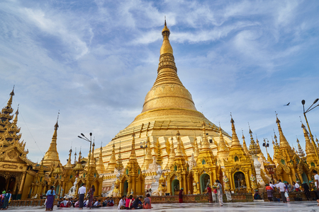 Yangon, Myanmar 18th October 2016: Unidentified people walking around in Shwedagon pagoda on October, 2016, Yangon, Myanmar.Shwedagon Pagoda is the most sacred Buddhist pagoda for the Burmese.