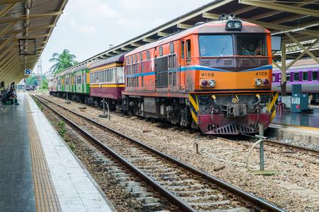 BANGKOK, THAILAND - AUGUST 22, 2016: Inside Bangkok Railway Station on AUGUST 22, 2016 at Bangkok Railway Station, unofficially known as Hua Lamphong Station, is the main railway station in Bangkok, Thailand.