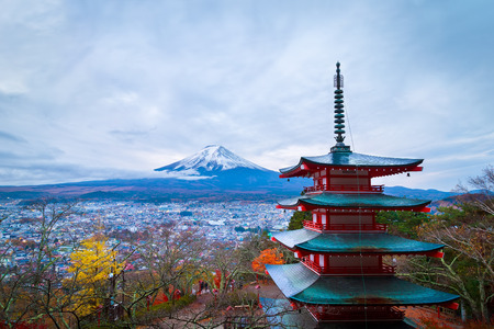 Mt. Fuji with Chureito Pagoda in autumn, Fujiyoshida, Japan Stock Photo