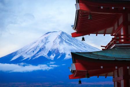 Mt. Fuji with Chureito Pagoda in autumn, Fujiyoshida, Japan Stock Photo