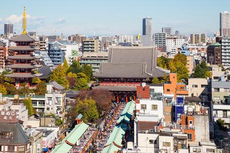 TOKYO, JAPAN - NOVEMBER 16, 2017: Japan cityscape over Asakusa district and Senso-ji Temple.