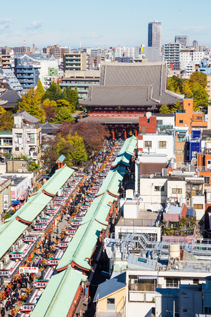 Japan cityscape over Asakusa district and Senso-ji Temple.