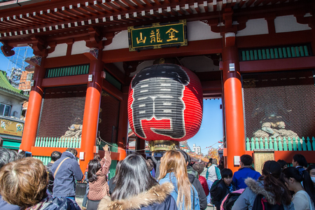 TOKYO, JAPAN - Nov 16, 2017:  Nakamise shopping street in Asakusa connect to Senso-ji Temple in Asakusa