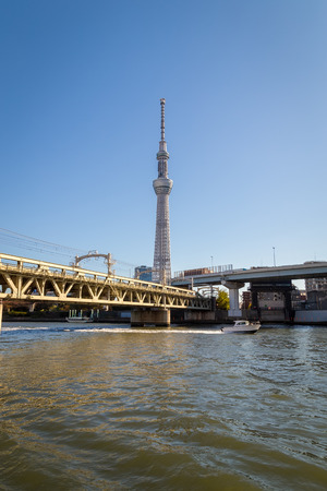 TOKYO, JAPAN - Nov 16, 2017: Skytree tower in Tokyo, Japan. The 634m tall broadcasting tower is the 2nd tallest structure in the world.