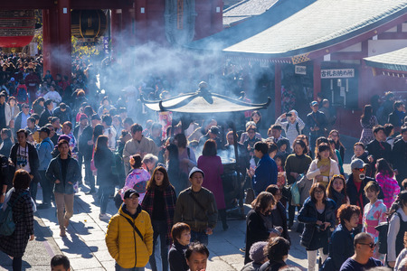 TOKYO, JAPAN - Nov 16, 2017:  The Senso-ji Buddhist Temple is the symbol of Asakusa.It is the oldest and the most significant Buddhist temple in Tokyo. Editorial