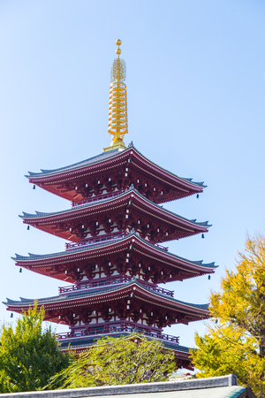 Senso-ji temple with gold tower and blue sky in background, Asakusa, Japan