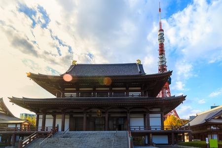 View of Zojo-ji Temple and tokyo Tower, Tokyo, Japan.