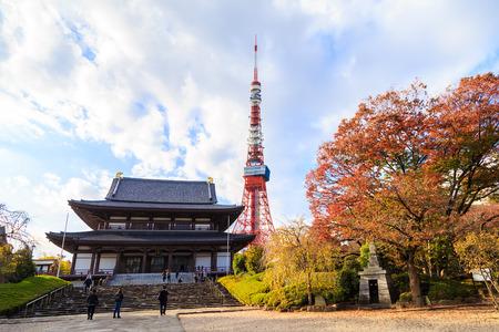 TOKYO, JAPAN - 16 NOV 2017; Tokyo Tower from Zojo-ji Cherry Blossom Park with people around