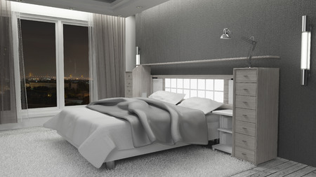 relaxion: Bedroom the view at night  Luxury and relaxion  3d rendering Non brand,sketches.All completely new design Stock Photo