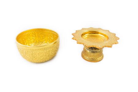 antecedents: Gold Bowl and Tray with Pedestal Stripe thailand