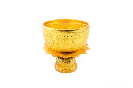 bronze bowl: Gold Bowl and Tray with Pedestal Stripe thailand