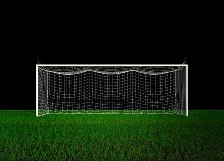 Football Goal on Black Background 3d rendering