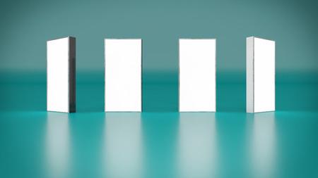 Lightbox sur fond bleu rendu 3D Banque d'images - 70759128