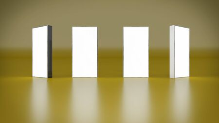 lightbox: Lightbox On Yellow Background 3D rendering Stock Photo