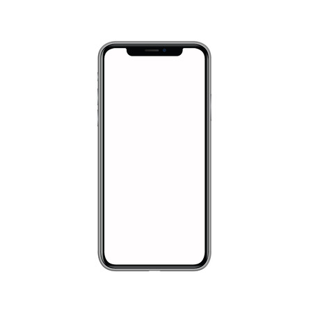 iphone x with blank white screen. Isolated on white background. Realistic vector illustration..  Advertisement,background,black,blank,business,button,call,cell,cellphone,cellular,commercial,communication,concept,connection,design,device,digital,display,el