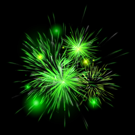 Fireworks color Green on black background for New year and greeting