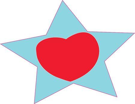 A heart in a star Иллюстрация