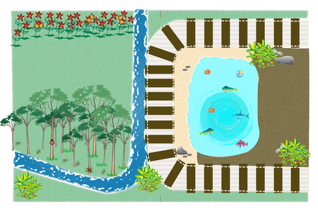 train track: Train track in the wood with a pond