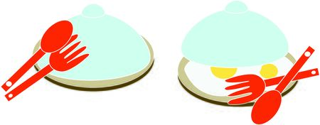 fried eggs in a plate with a cover, fork and spoon Illustration