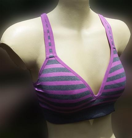 a stripe sport bra on a manniquin