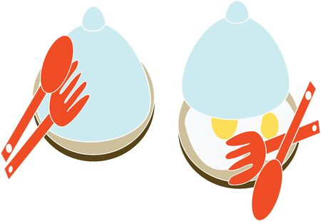 Fried eggs in a plate with utensils icon.